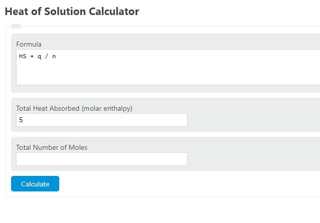 heat of solution calculator