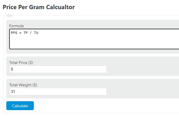 price per gram calculator