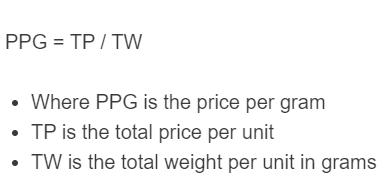 price per gram formula