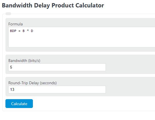 bandwidth delay product calculator