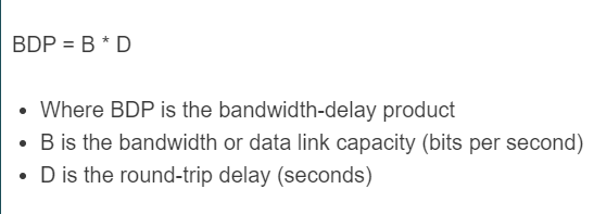bandwidth delay product formula
