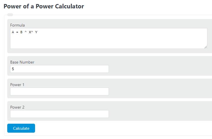power of a power calculator
