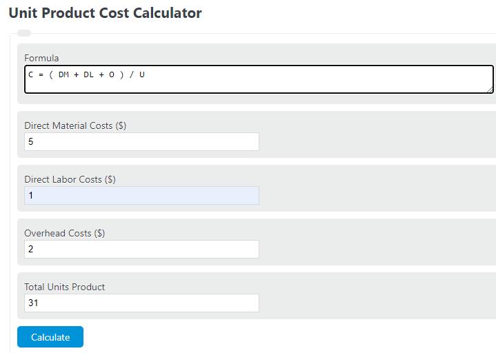 unit product cost calculator