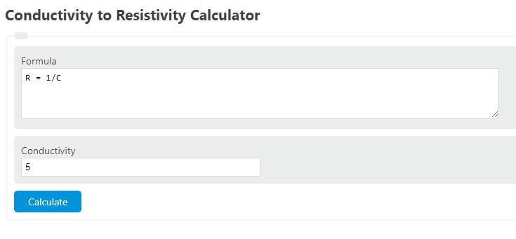 conductivity to resistivity calculator