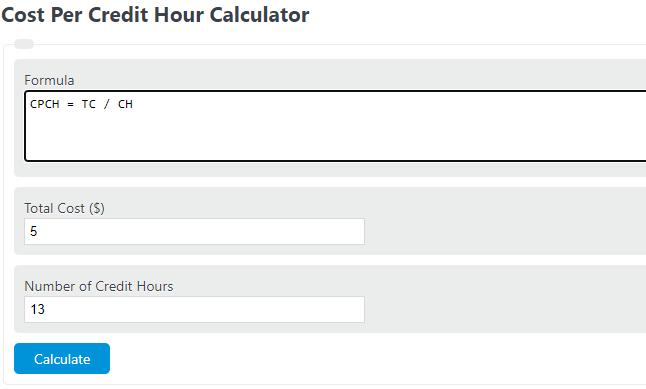 cost per credit hour calculator