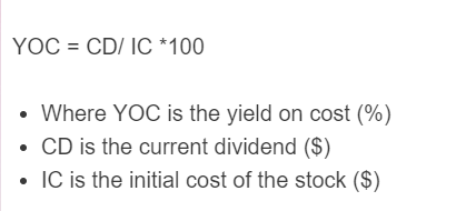 yield on cost formula