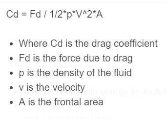 drag coefficient formula