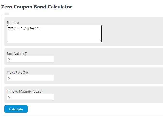 zero coupon bond calculator