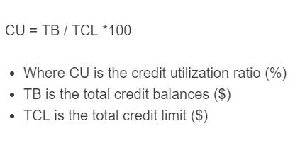 credit utilization ratio formula