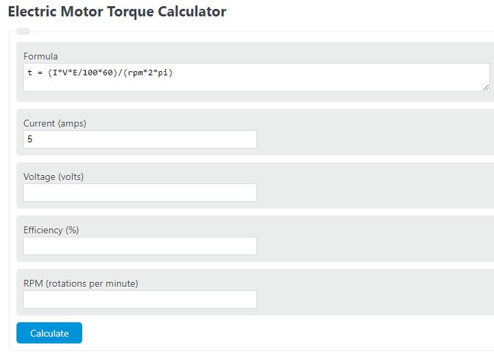 electric motor torque calculator