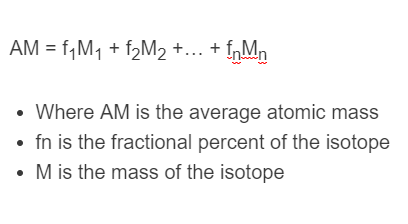 average atomic mass formula