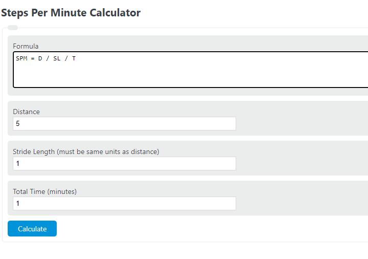 steps per minute calculator