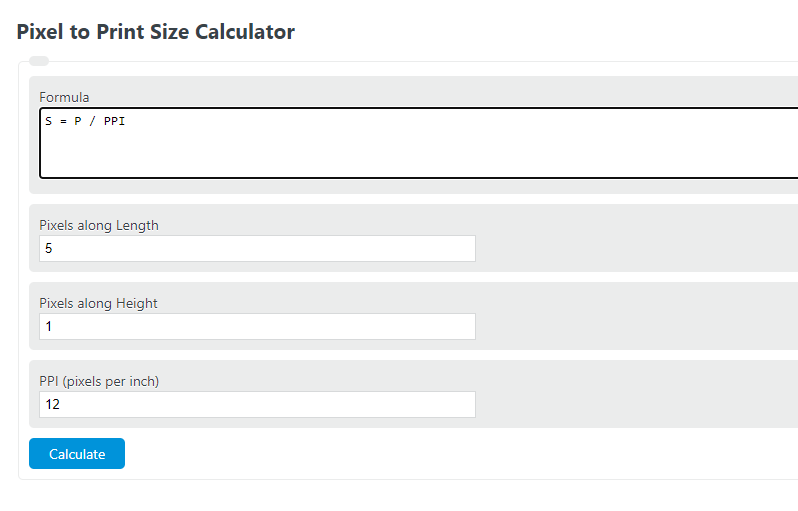 pixel to print size calculator