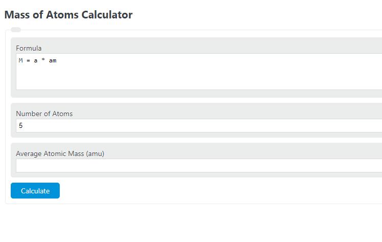 mass of atoms calculator
