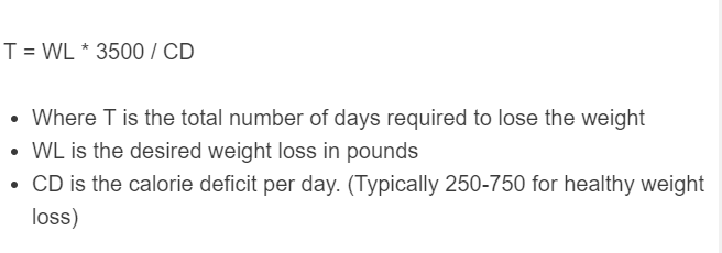 weight loss time formula