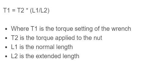 torque wrench extension formula