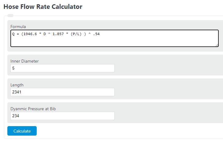 hose flow rate calculator