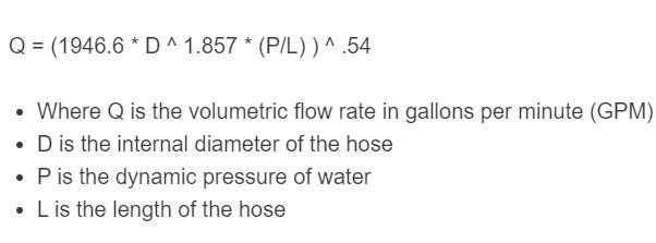 hose flow rate formula
