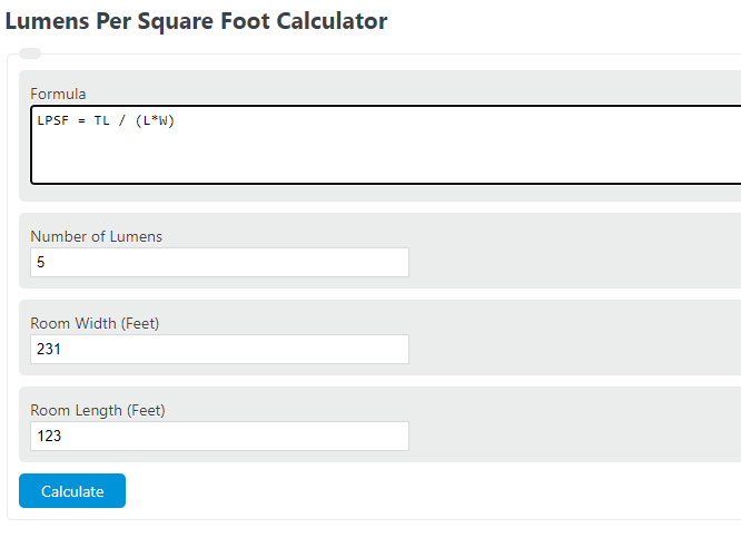 lumens per square foot calculator