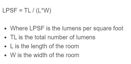 lumens per square foot formula