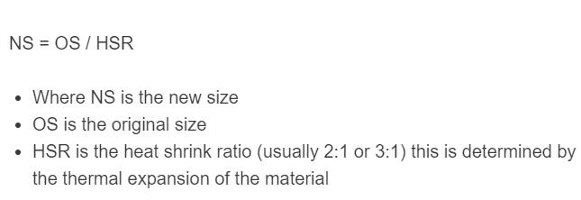 heat shrink size formula