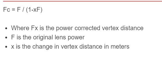 contact lens vertex formula