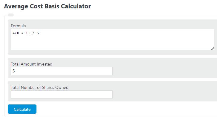 average cost basis calculator