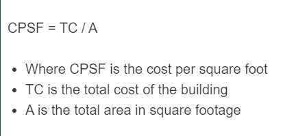 cost per square foot formula