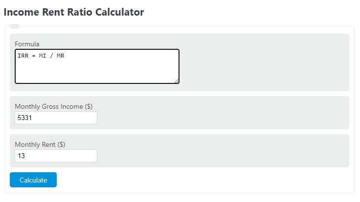 income rent ratio calculator