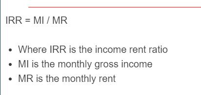 income rent ratio formula