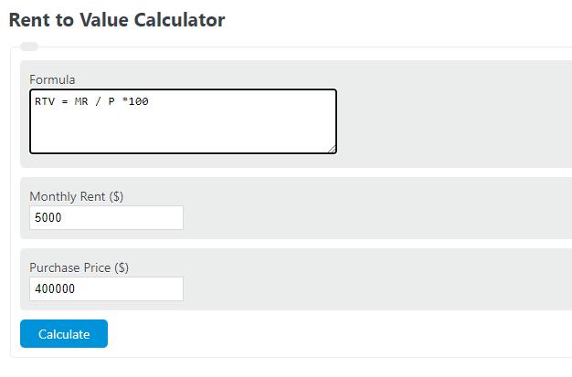 rent to value calculator
