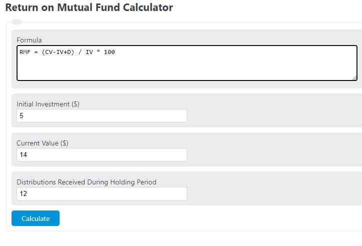 return on mutual fund calculator