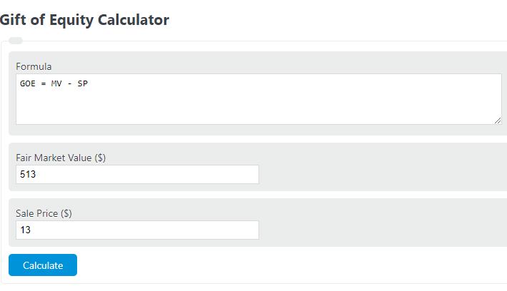 gift of equity calculator