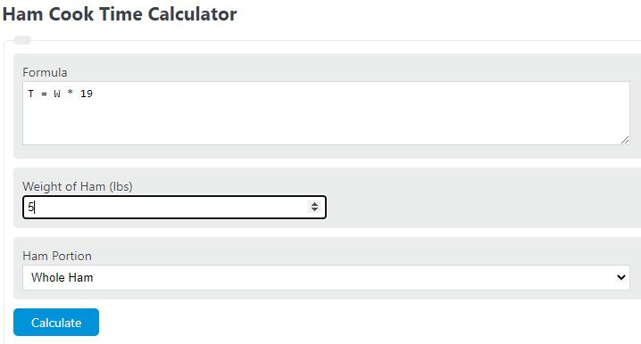 ham cook time calculator