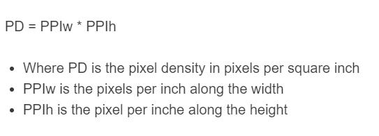 pixel density formula