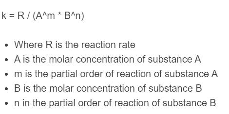 rate constant formula