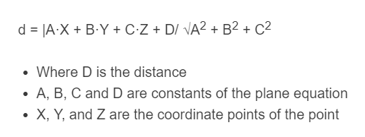 distance from point to plane formula