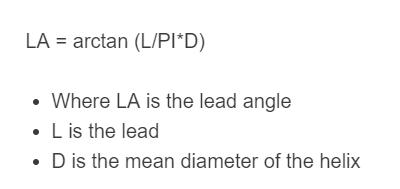 lead angle formula