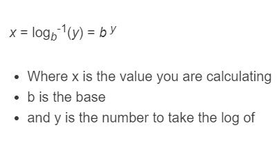 inverse log formula