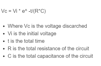 capacitor discharge formula