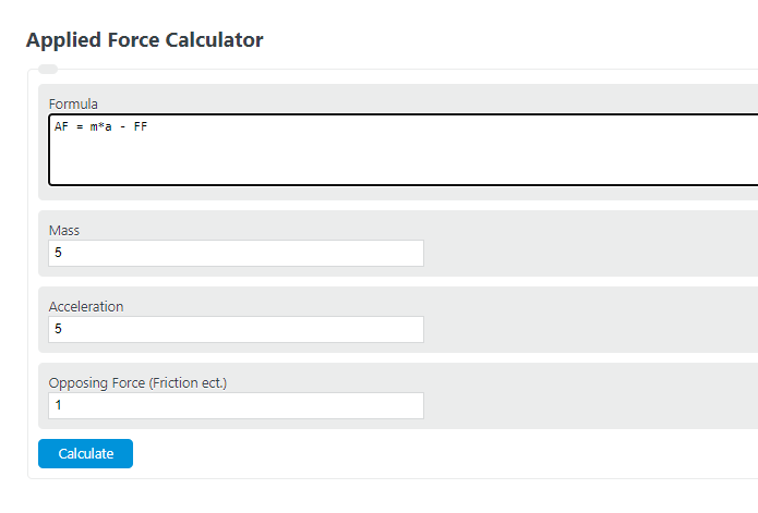 applied force calculator