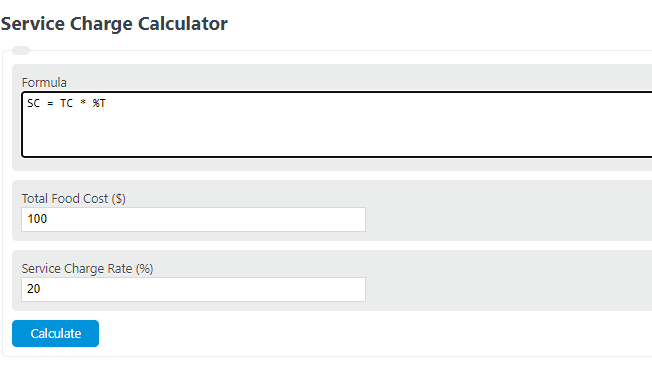 service charge calculator