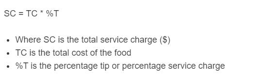 service charge formula