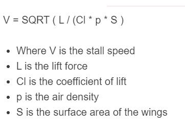 stall speed formula
