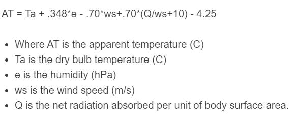 apparent temperature formula
