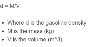 gasoline density formula