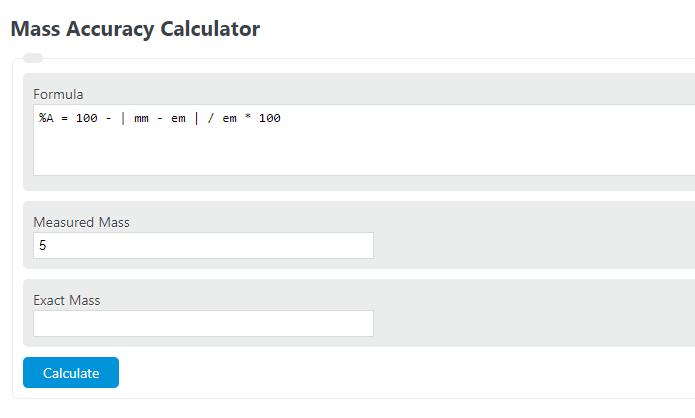 mass accuracy calculator