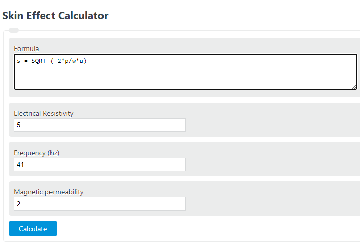 skin effect calculator