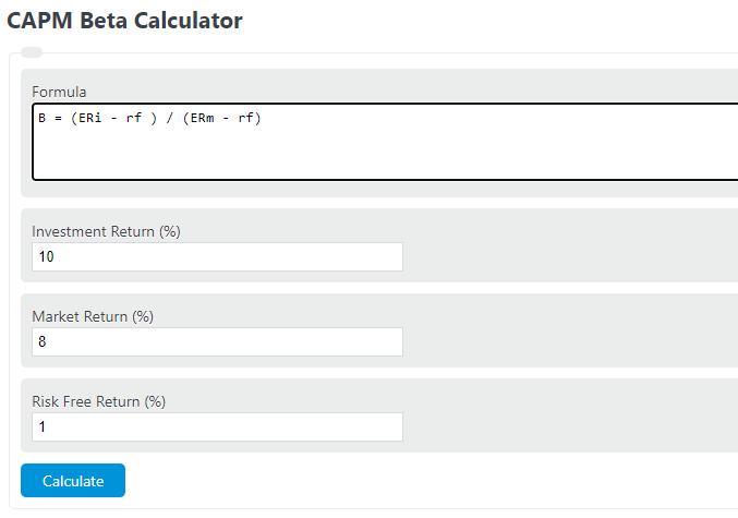 CAPM beta calculator