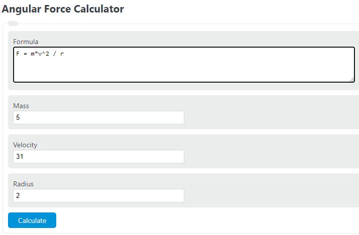 angular force calculator